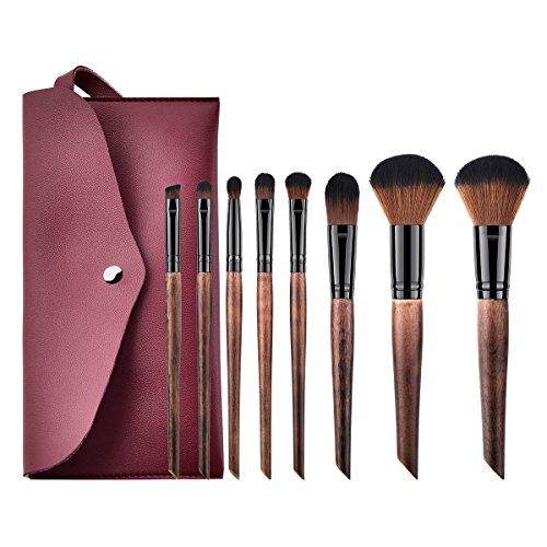 Frcolor Ensemble de pinceau de maquillage de 8Pcs, pinceau de maquillage de poudre d'ombre d'oeil de visage cosmétique pour des femmes (café)
