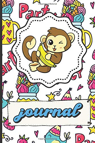 Monkey Banana Journal: Party Time Happy Birthday Lined Notebook Blue Bird Party Hats Stars Candy Hearts Cover -