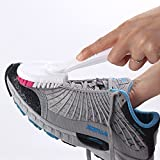 #5: Multifunctional Plastic Long Handled Double Sided Skillet Wash Brush To Wash Shoe Round Detachable Hard Headed Sneakers Shoes Brushes Pack of 1 White (With Free Token)