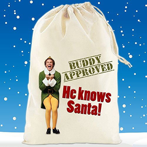 Boultons Graphics Elf Santa Sack Stocking Buddy Its Santa I Know Him Elf Film Gift Bag Christmas (Small - 30cm x 25cm)