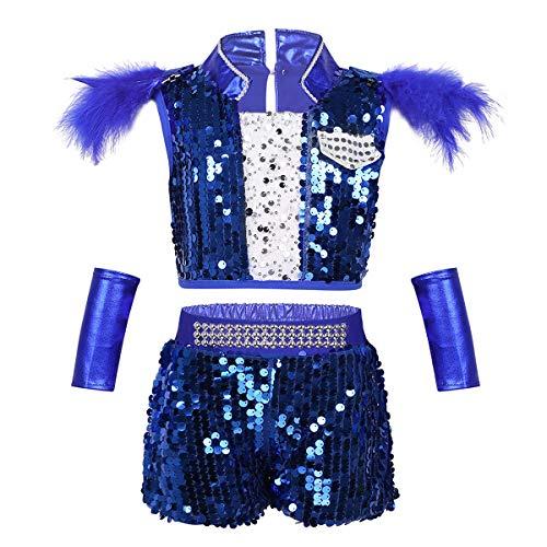 Hip Hop Für Jungen Kostüm - iiniim Kinder Jungen Kostüm Glänzend Pailletten Tops mit Shorts Hip-Hop Jazz Party Tanz Kostüm Bekleidungsset Gr.98-164 Blau 110-116/5-6 Jahre