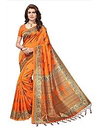 Art Decor Sarees Women's Orange Color Mysore Silk With Tessal Saree With Blouse Piece
