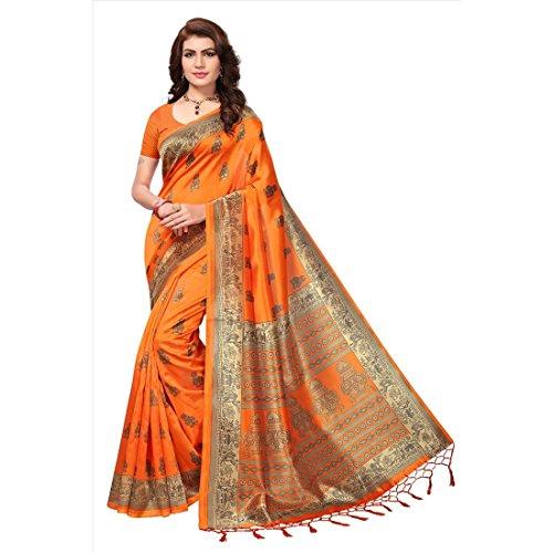 Art Decor Sarees Women's Orange Color Mysore Silk With Tessal Saree With...