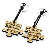 Lieblingsmensch Schlüsselanhänger Partnerset aus Holz mit Gravur - Modell: Puzzle