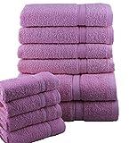CASAbella 10Pezzi Lusso Morbido Set di Asciugamani Viso Mano Bagno Asciugamani, 100% Cotone, Rosa, 10 Pezzi