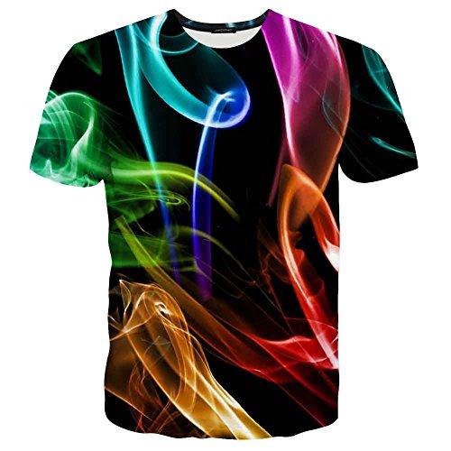 EOWJEED Unisex Cool Casual 3D Muster Gedruckt Kurzarm T-Shirts Top Tees - XL (Lustige Weg T-shirt)