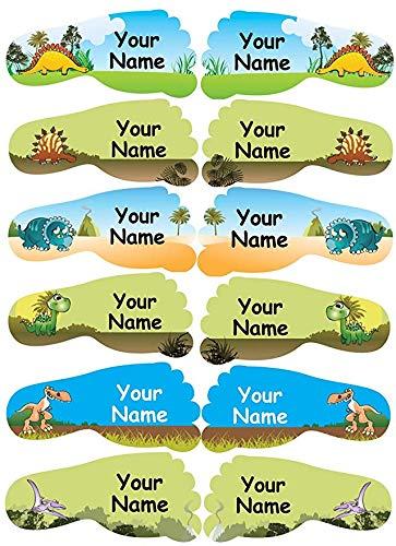 36 Individuell personalisierte, wasserfeste klebende Namensetiketten für Schuhe der Kinder (50x22mm) - Dinosaurier Design