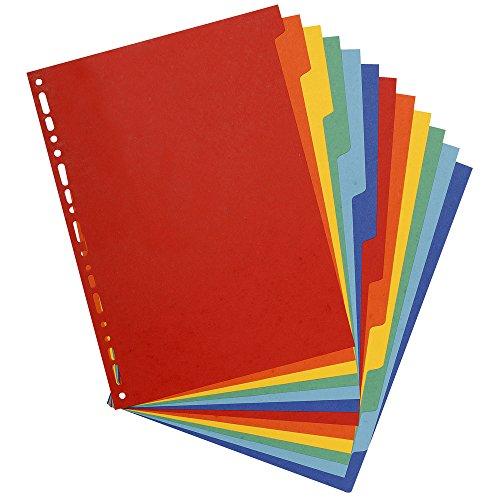 Exacompta - Réf. 2612E - Intercalaires carte lustrée 400g 12 positions - A4 maxi - couleurs assorties