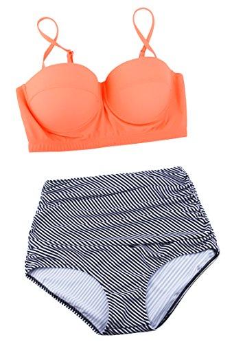 Angerella Damen Retro Stil Polka-Punkt mit hoher Taille Badeanzug Bikini Set - 4
