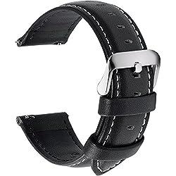 Fullmosa 14mm 16mm 18mm 19mm 20mm 22mm 24mm Bracelet Montre en Cuir Véritable, 12 Couleurs Axus Montre Bracelet à Dégagement Rapide,18mm Noir