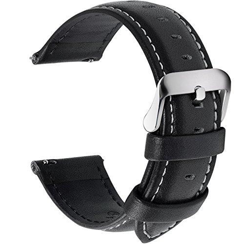 Fullmosa 12 Farben Uhrenarmband, Axus Serie Lederarmband Ersatz-Watch Armband mit Edelstahl Metall Schließe für Herren Damen 14/16/18/20/22/24mm,Schwarz 20mm -