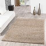 T&T Design Shaggy Teppich Hochflor Langflor Teppiche Wohnzimmer Preishammer versch. Farben, Größe:200x280 cm, Farbe:beige