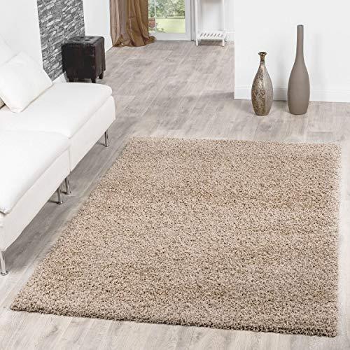T&T Design Alfombra Shaggy De Pelo Largo para Salón A Precio Inmejorable, Größe:140x200 cm, Farbe:Beige...