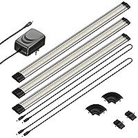 parlat LED lámpara bajo mueble SIRIS, plano, cada 50cm, 100cm cable, 400lm, blanca cálida, juego de 3