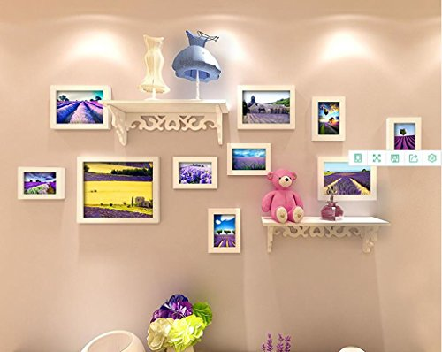 SXFR-ZN Massivholz Foto Wand Kombination Bilderrahmen Wohnzimmer Creative Home TV Hintergrund Wand Dekoration Wand-Fotorahmen (Farbe : A)