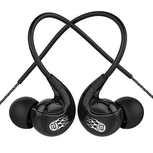 Running Gym Sport Kopfhörer, Bluebare Langsdom SP90 Jogging Kopfhörer mit Mic & Lautstärkeregler In Ear Kopfhörer Earbuds Kompatibel mit allen 3,5mm Klinke (Schwarz)