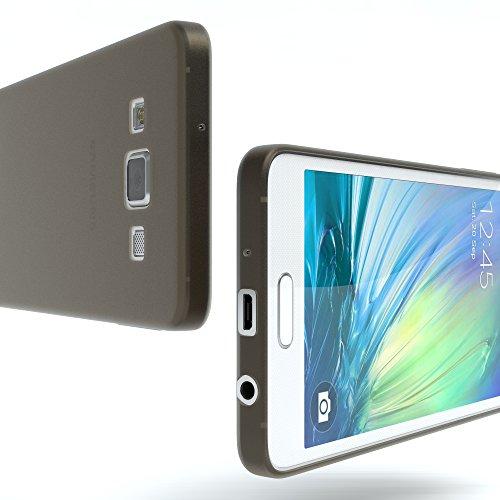 Samsung Galaxy A3 (altes Modell) Hülle - EAZY CASE Ultra Slim Cover TPU Handyhülle Matt - dünne Schutzhülle aus Silikon in Transparent / Weiß Matt Schwarz / Anthrazit