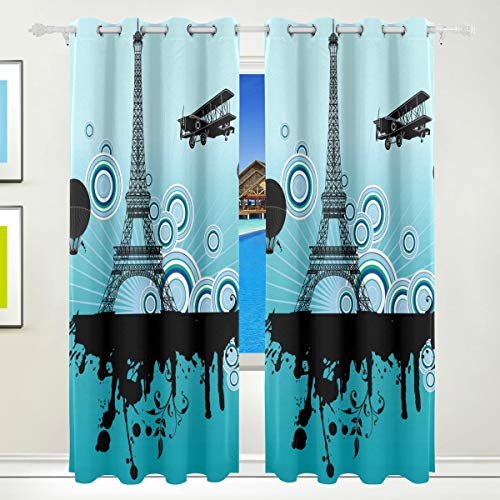 WENYAO Paris Eiffelturm drucken Thermisch isolierte Blackout Room Verdunkelung Fenster Vorhänge für Schlafzimmer Wohnzimmer 55 'B x 84' L, 2 Panels