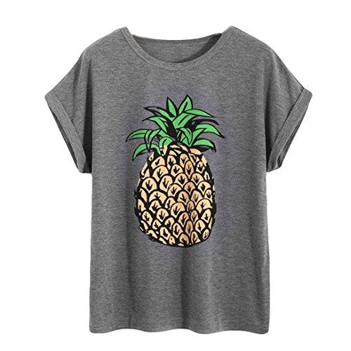 Women T-Shirt, Bestoppen Women Summer Sexy Short Sleeve Crewneck Tank Tops Casual Loose Fit Pineapple Printed Tee T-Shirt Blouse Ladies Daily Beach Tops Shirts