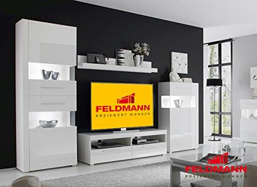 Wohnwand 440907 Anbauwand weiß / weiß Hochglanz 4-teilig