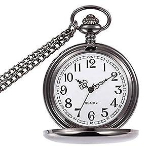wior Taschenuhr Vintage Gravur Taschenuhr Quarz Mechanische Rom Nummer fobwatch für Herren Damen mit Kette + Geschenk-Box