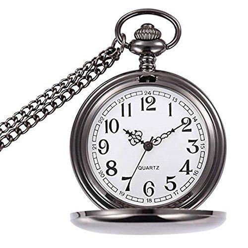WIOR Taschenuhr Retro Smooth Quarz Taschenuhr Klassische mechanische Pocket Watch für Männer Frauen mit Kette + Geschenkbox (Schwarz)