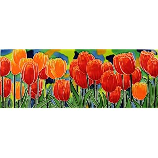 Tulip Fields Benaya Art Tiles Contemporary Wall Tile Picture Plaque It's As If They Are Alive With Detail Bold Colours A Perfect Decorative Fathers Mothers day Gift Birthday Present Purchase