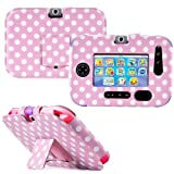 Gadget Giant ® VTech InnoTab 3S Pink & White Polka Dots Leather Wallet Folio Case Cover Stand Protector - Cute Fun Polka Dot Dots Design