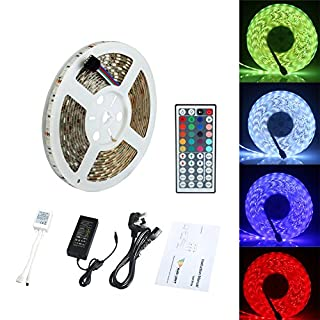 ALED LIGHT Waterproof 5M 5050 300 Led SMD RGB Led Strips Lighting Full Kit with 44 Key IR Remote Controller for Home Kitchen Cabinet TV Lighting Decoration