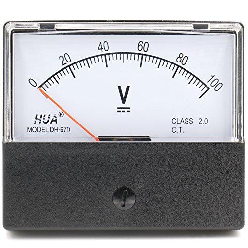heschen rechteckig Voltmeter Analog Panel Volt Spannung Meter 670Stil DC 0-100V Klasse 2.0