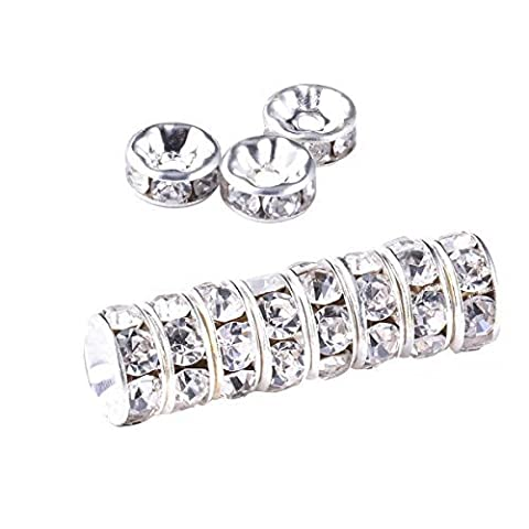 50 Pcs 10mm - Silver Clear Rhinestone/Diamante Beads Rondelle Spacer
