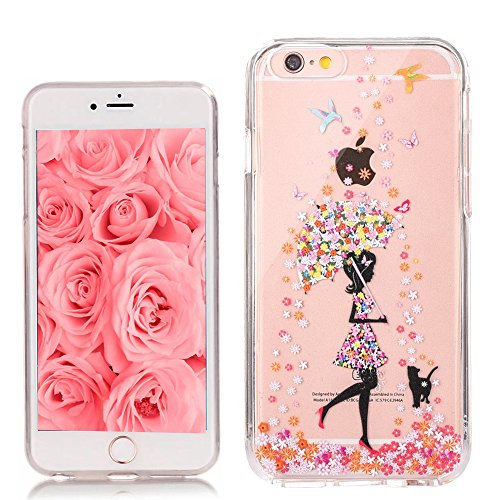 EMAXELERS iPhone 7 Plus Case Transparent Clear Glitzer Crystal Liquid Silikon Hülle,iPhone 7 Plus Hard Hülle,iPhone 7 Plus Hülle Rosa,iPhone 7 Plus Hülle Bling 3D Kreative Plastik Case Etui für iPhone I Girl TPU 7