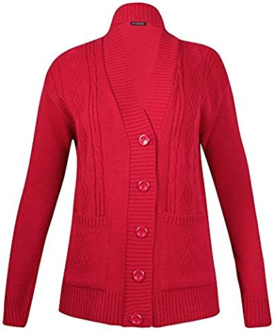 Womens Plus Size Knit Pattern Ladies Long Sleeve Button Cardigan Long Jumper Top Red 18 - 20 (M/L)