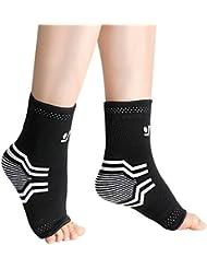 OMorc Chevillère Sport Anti Douleur Manches de Compression Chaussettes Toeless avec Soutien Arch & Ankle pour Récupération des Blessure