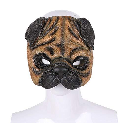 WanTo Italien Venedig Karneval Party lustige realistische Latex PU Schaum 3D Full Face Maskerade Tier Mops Cosplay Hund Maske, Mops Maske