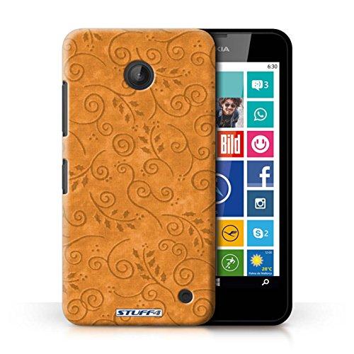 Kobalt® Imprimé Etui / Coque pour Nokia Lumia 635 / Rouge conception / Série Motif Feuille Remous Orange
