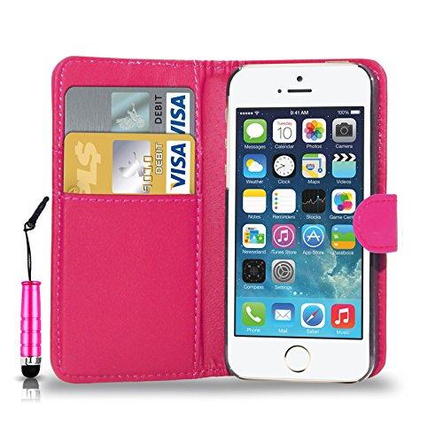 APPLE iPHONE SE - Schlag-Leder-Mappen-Kasten-Abdeckungs-Beutel + Mini-Touch-Stift + Screen Protector & Poliertuch ( Black ) Hot Pink