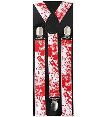 Hosenträger mit Blut HALLOWEEN Horror Dracula Zombie Vampir Bloody Doc Scherzartikel weiss mit roten Blutflecken Accessoire Karneval