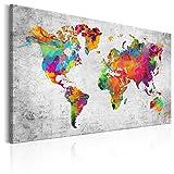 murando - Bilder 120x80 cm - Leinwandbild - 1 Teilig - Kunstdruck - Modern - Wandbilder XXL - Wanddekoration - Design - Wand Bild - Weltkarte Karte Abstrakt Bunt k-A-0147-b-a