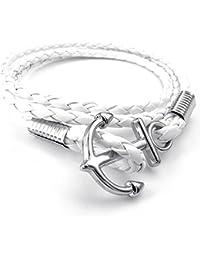KONOV Bijoux Bracelet Homme - Tressé Anchor Ancre Manchette - Cuir - Alliage - Fantaisie - pour Homme et Femme - Chaîne de Main - Couleur Blanc Argent - Avec Sac Cadeau