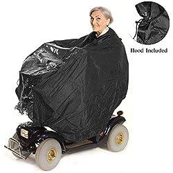Elektromobil Regenschutz, Regenjacke & Regencape für Rollstuhlfahrer – schützt Fahrer und Seniorenmobil vor Regen und Spritzwasser - mit Kapuze und Reißverschluss