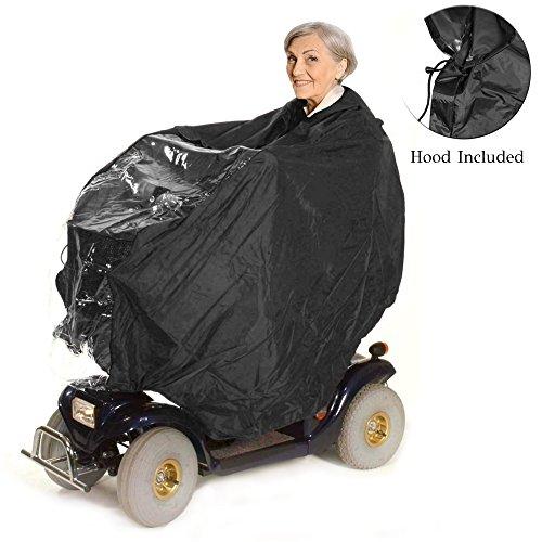Elektromobil Regenschutz, Regenjacke & Regencape für Rollstuhlfahrer - schützt Fahrer und Seniorenmobil vor Regen und Spritzwasser -Rollstuhlponcho mit Kapuze und Reißverschluss