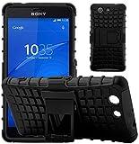 G-Shield Hülle für Sony Xperia Z3 Compact Stoßfest Schutzhülle mit Ständer - Schwarz