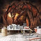 BIZI Décor raffiné World of Warcraft Fiery Dragon Jeu Thème Fond Murale 3D Papier Peint Murale,200 * 140cm