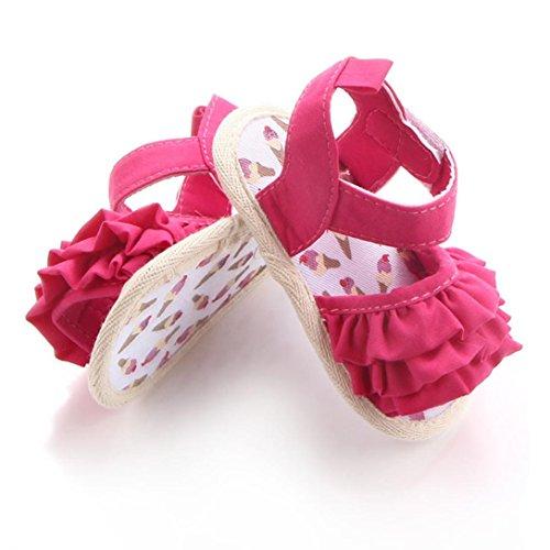 pattini di bambino Koly_Ragazza del bambino pattini della greppia Newborn Fiore morbida suola antiscivolo sandali del bambino Sneakers Hot Pink