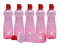Harshpet Red 1 LTR Water Bottle Fridge Bottle Set of 6