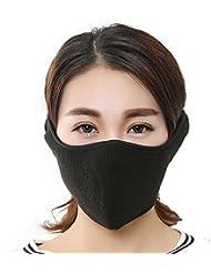 Masque demi visage en polaire pour homme et femme, coupe-vent respirant intégré, cache-oreilles velcro ajustable, protection complète des oreilles pour ski, vélo, moto.