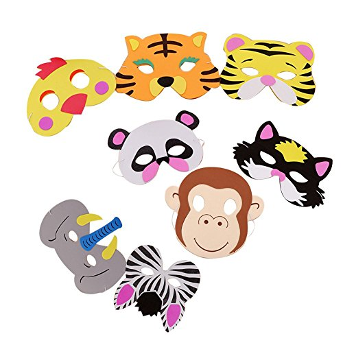 Newin Star Maske Spielzeug, 8 Stück Verschiedene Tiermasken Geburtstag Party Favors Set für Photo Booth Foto Requisiten Kinder Kostüm Gesichtsmaske