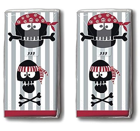 20 Taschentücher (2x 10) Piratenköpfe / Pirat / Motivtaschentücher