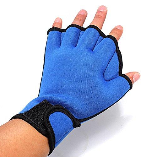 TENGGO Fingers Bade Handschuhe Frosch Schwimm Handschuhe Fitness Training Handschuhe-Blau-L